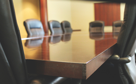 Picture of a shiny desk in an office